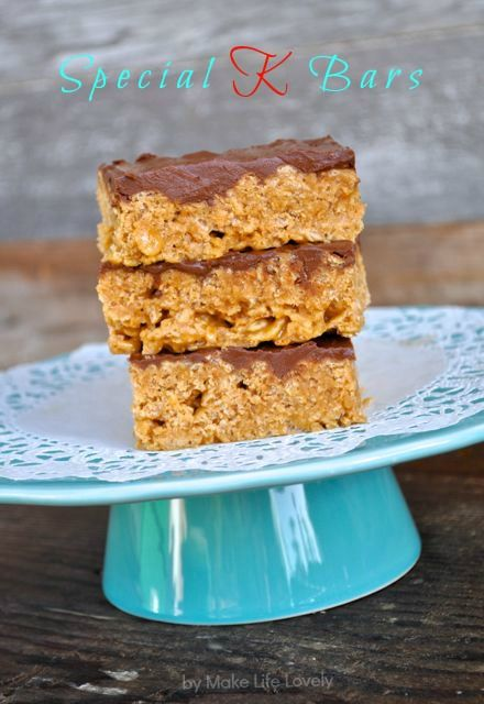 Special K Bars Recipe - Make Life Lovely-a family fav tho we put more choc on top. Also good...make the goop but instead of putting over Special K, gently put over Bugles snacks...salty sweet goodness!!
