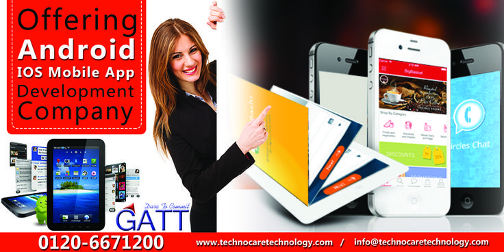 To develop powerful, highly secured and integrated mobile apps, approach Mobile App Development Company GATT adored with experienced developers. Dial 0120-6671200 to have words with them. www.technocaretechnology.com.