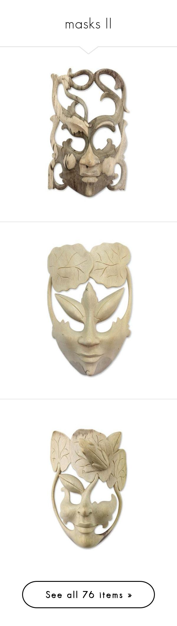 """masks II"" by tettigoniidae ❤ liked on Polyvore featuring home, home decor, masks, balinese contemporary masks, beige, wood home decor, novica masks, novica home decor, wooden home accessories and novica"