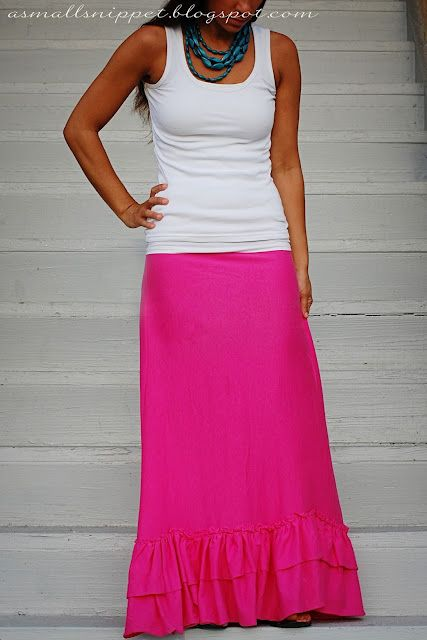 how to make this ruffled, jersey maxi skirt - tutorial