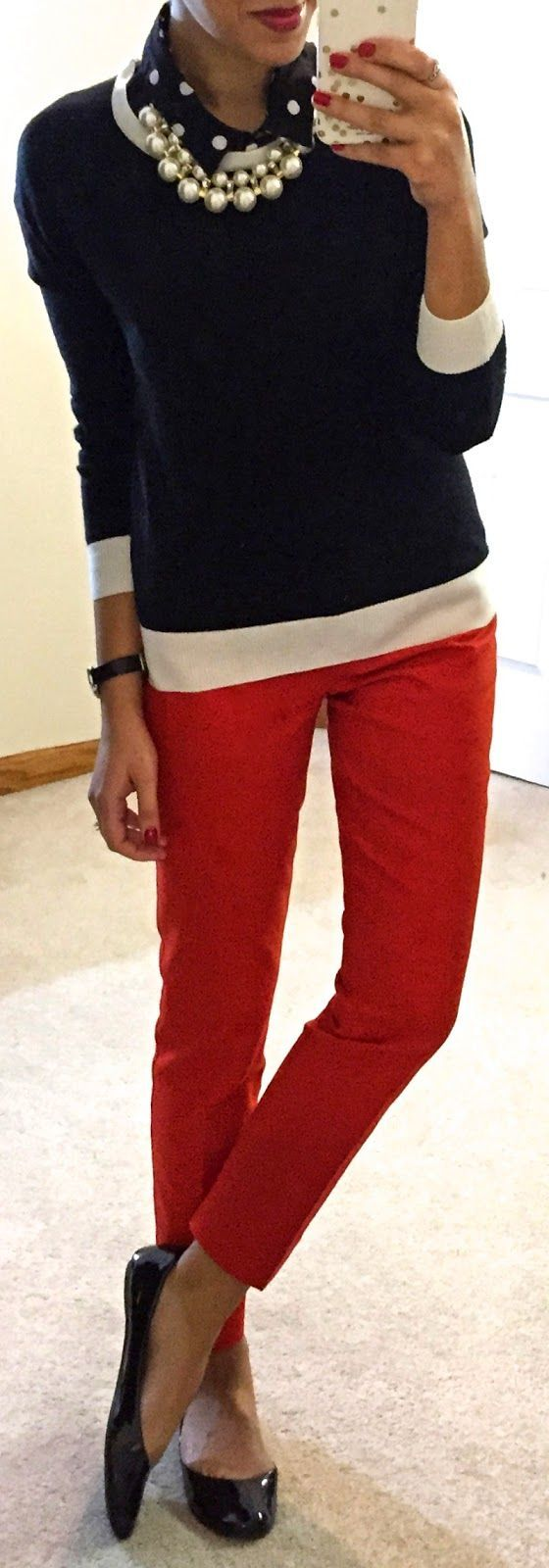 I'm loving the red straight ankle slacks for school.  The navy top and pearls make it classy