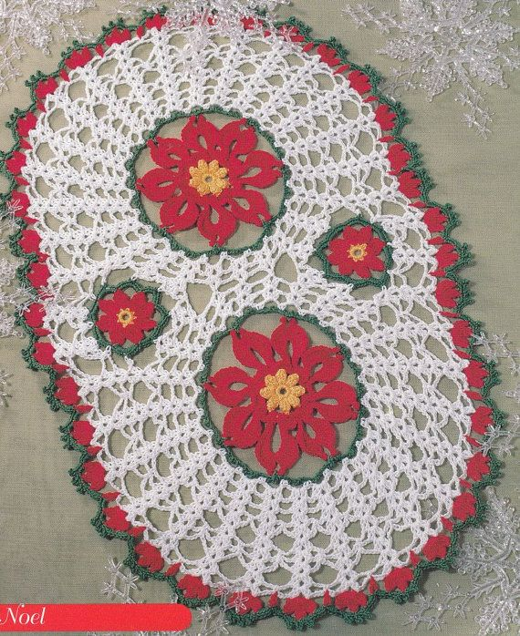 Christmas Doily Pattern - Poinsettia Oval Crochet Laces ...
