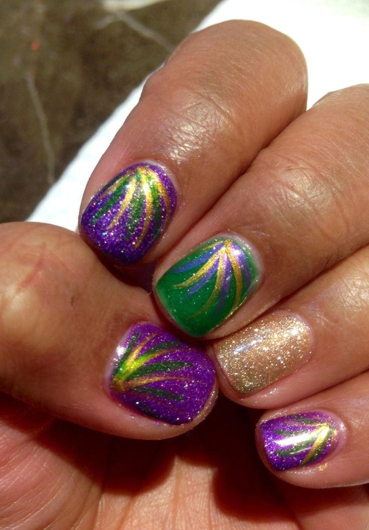 Mardi Gras nails! By: Bonjour Nails in Galveston, Texas