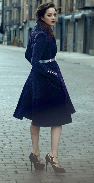 Marion Cotillard. Gorgeous royal blue coat dress