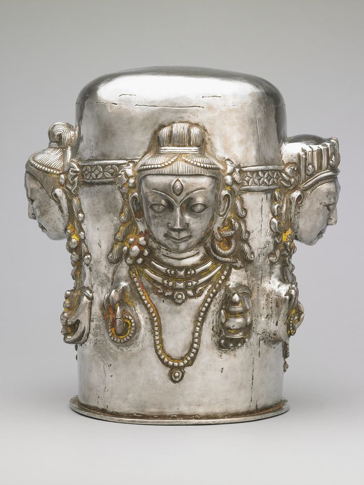 Hindu Cosmos - Four-faced Linga  19th century. Nepal. Silver,...