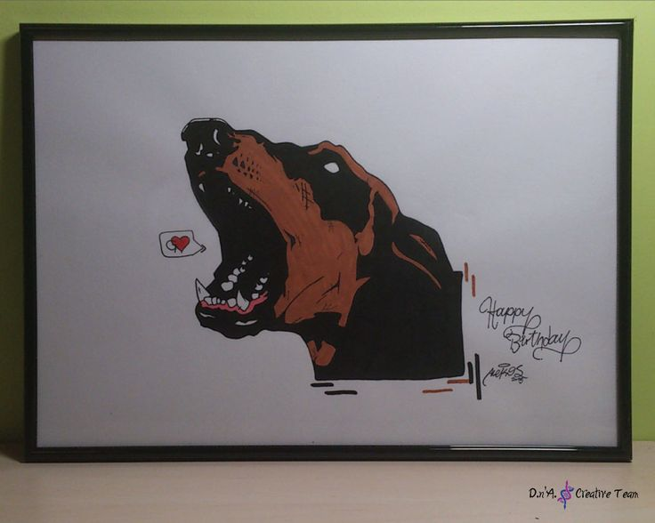 -DOBERMAN ILLUSTRATION -Water markers, pen on canson paper -Measures: 30x42 cm