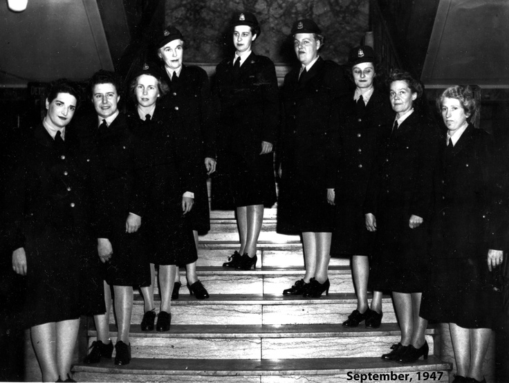 The first official uniforms for female police officers in 1947.