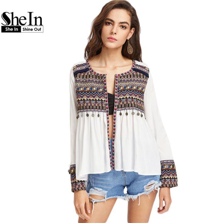 Shein boho blusas para mulheres bordado jugo e cuff moeda franja guarnição blusa mulheres manga comprida alta baixa blusa