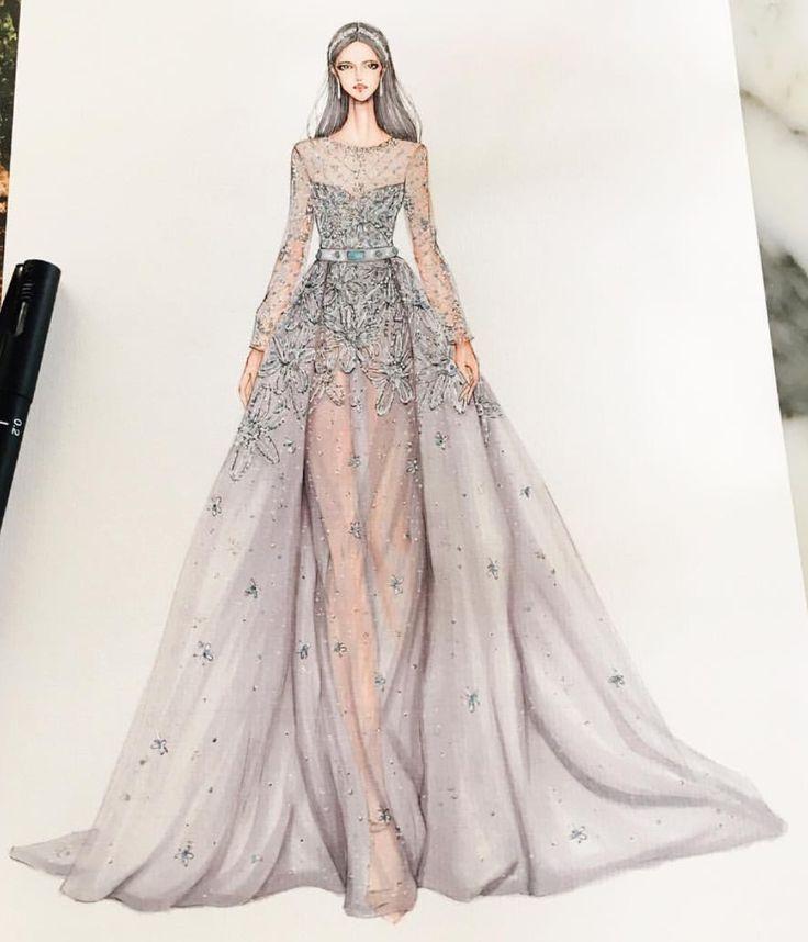 Fashion designing sketches dresses