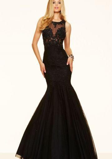 Cheap and Australia 2016 Black Mermaid Scoop Neckline Beaded Lace Organza Floor Length Evening Dress/ Prom Dresses 98054 from Dresses4Australia.com.au