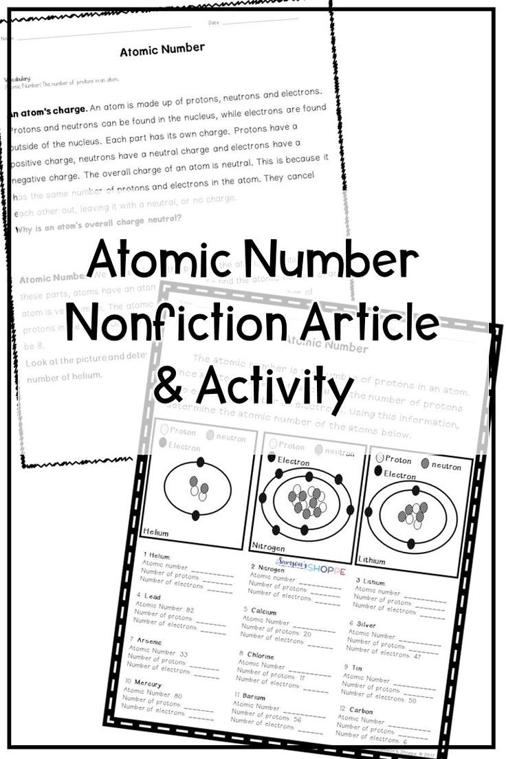 Atomic Number For Kids This Worksheet Will Help Your Grade 5 6 And 7 Students Le Student Learning Teaching Upper Elementary Middle School Science Classroom