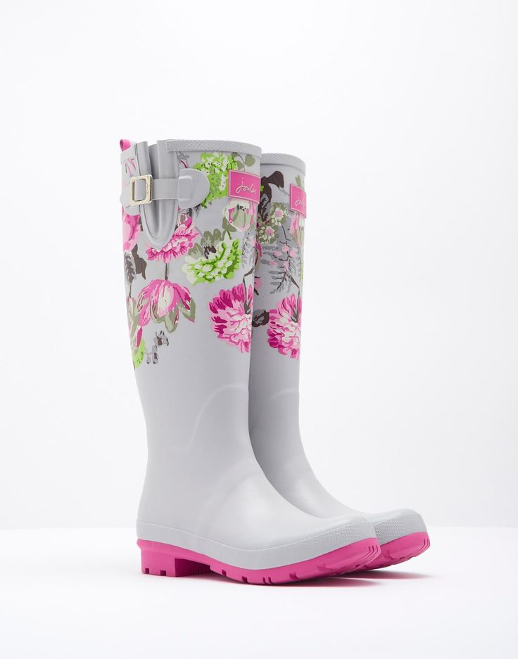 Wellyprint Silver Posy Printed Wellies | Joules UK