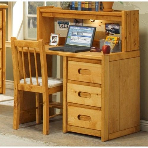 trendwood bunkhouse single pedestal student desk with corral hutch dunk bright furniture. Black Bedroom Furniture Sets. Home Design Ideas