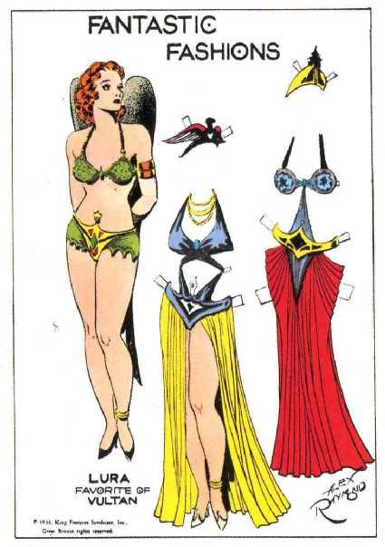 Fantastic Fashions - Lura, Favorite of Vultan. Flash Gordon paper dolls illustrated by Alex Raymond, 1934