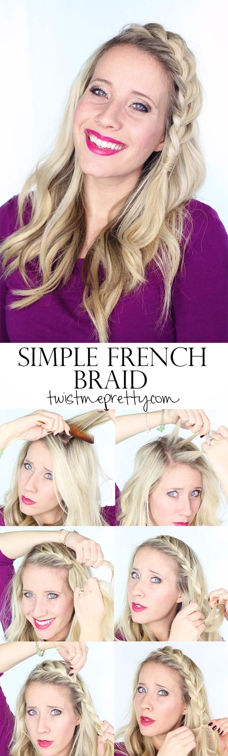 A Simple French Braid -  easy and fast enough for rushed mornings but can be dressed up for date night or something a little more special | Tutorial at Twist Me Pretty