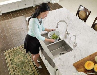 1800 Series 29-15/16x20-5/8 stainless steel 18 gauge double bowl sink  -- G18220 -- Moen