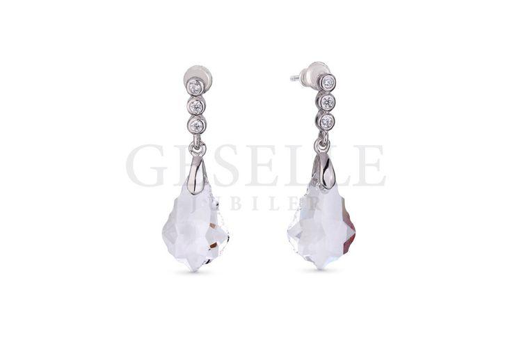 Wiszące kolczyki z kryształami Swarovski ELEMENTS w odcieniu Crystal | SREBRO \ Kolczyki od GESELLE Jubiler