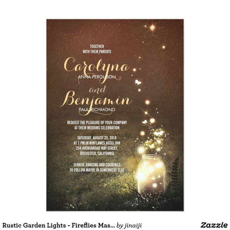 destination wedding invitation rsvp date%0A Rustic Garden Lights  Fireflies Mason Jar Wedding Card