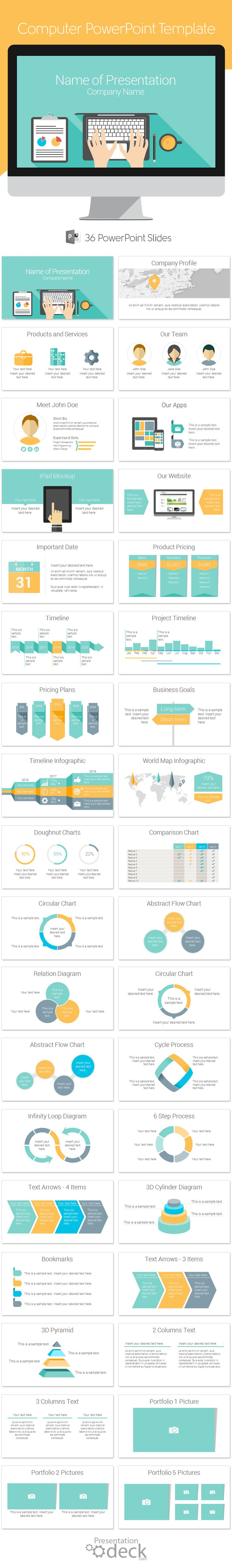 Computer PowerPoint template in flat design style with 36 pre-designed slides. This template is a great choice for presentations on marketing, programming, data entry, etc.  #powerpoint #flatdesign #powerpoint_template
