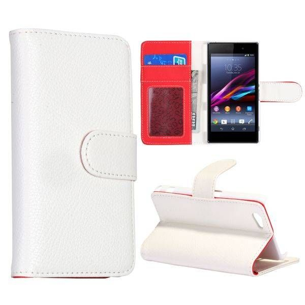 Wit bookcase hoesje voor Sony Xperia Z1 Compact