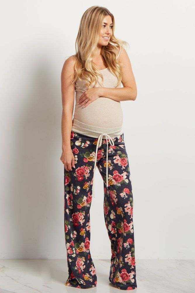 A floral printed maternity pajama pant. Drawstring waistband. This style was created to be worn before, during, and after pregnancy.