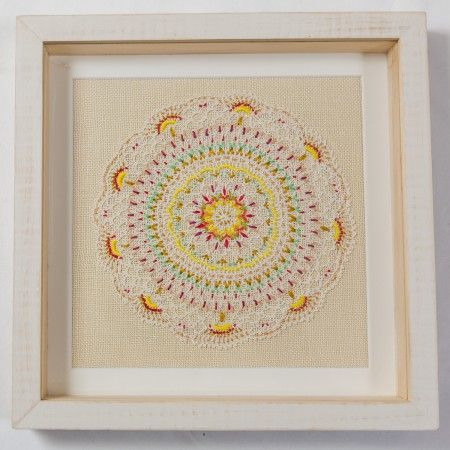 Dandelion Framed Vintage Embroidery.  Made from vintage lace, linen and thread, this piece is one of a kind.