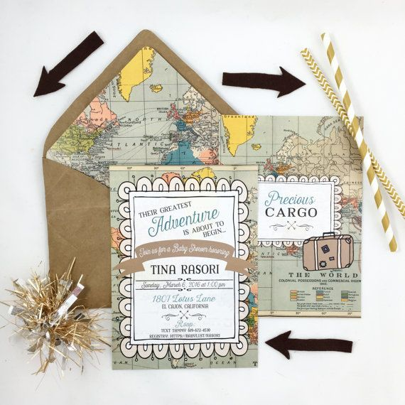 World Traveler Baby Shower Invitation Baby Shower Invitation Customizable 5x7 Precious Cargo Shower Map Invitation Travel Adventure Shower