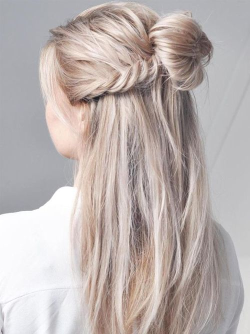 Super Cute Half Updo Half Down Long Hairstyles 2018 For Women Long