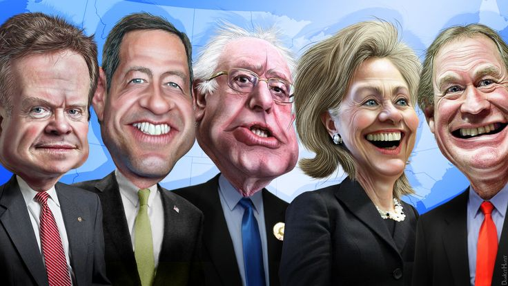#FeeltheBern  2016 Democratic Candidates - Caricatures | from photos in public domain go to Flickr for more info