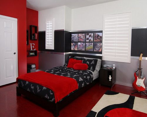 Spaces Teen Boy Bedroom Design, Pictures, Remodel, Decor And Ideas   Page  Wants Red, Black And White.I Figured Heu0027d Pick The Winnipeg Jets Or Toronto  Maple ...