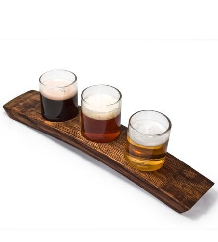 Portland Reclaimed Wood Beer Flight Holder & 3 Glasses by bambeco  on Scoutmob Shoppe