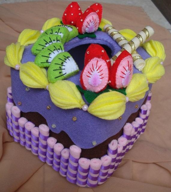 Felt Food - fruits cake - felt tissue box cover-Box Tissue