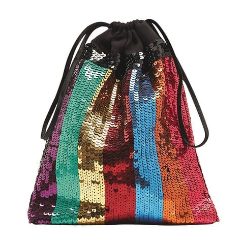 purple, gren, gold, red, blue, copper, red sequin draw strong bag Attico, Matches
