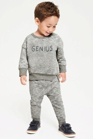 Acheter Ensemble sweat et pantalon de jogging gris avec slogan (3 mois - 6 ans)…