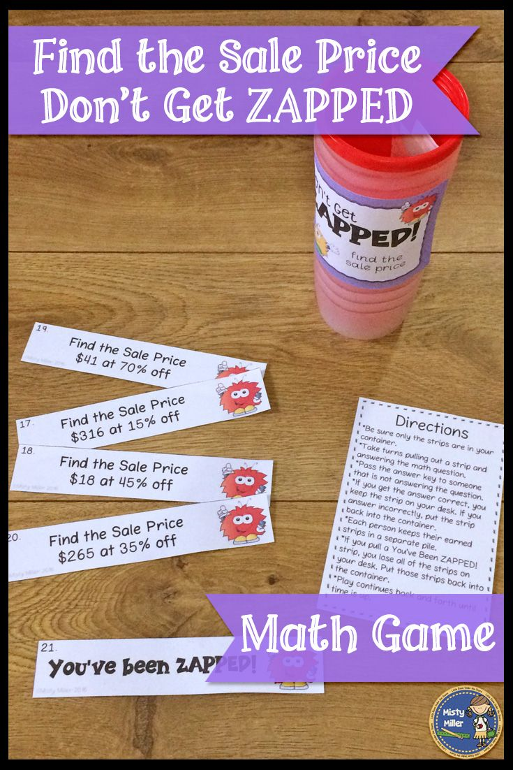 Review or practice finding sales prices of whole dollar amounts with this fun and engaging math game! A perfect math game for math centers or early finishers. Players try to hold on to their strips and not get ZAPPED. # grade 6-8 #math #mathgame #mathcenter #saleprice #kaboom #teacherspayteachers