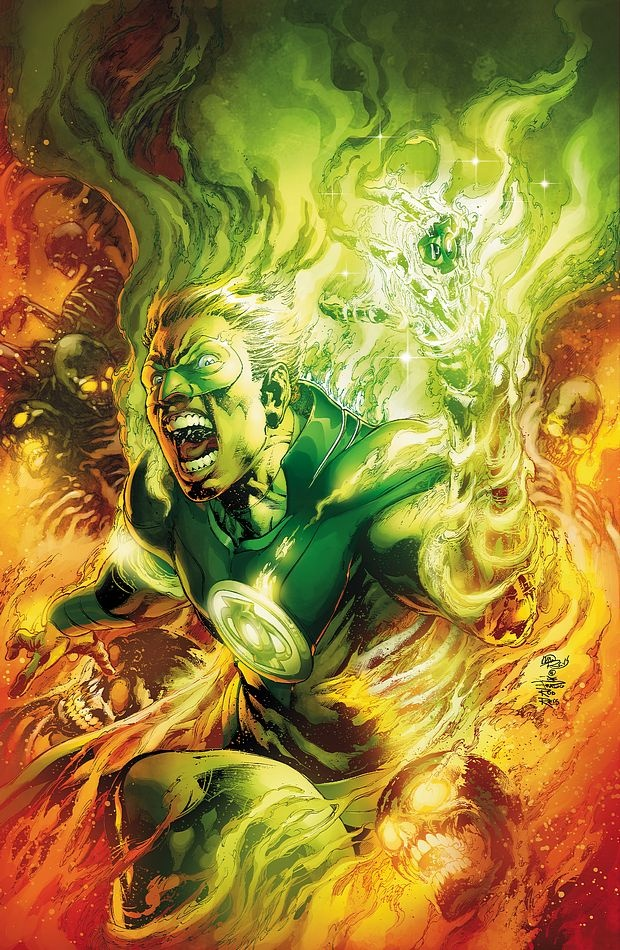 The new 52 Alan Scott, the original Green Lantern, on the cover of Earth 2 issue #3
