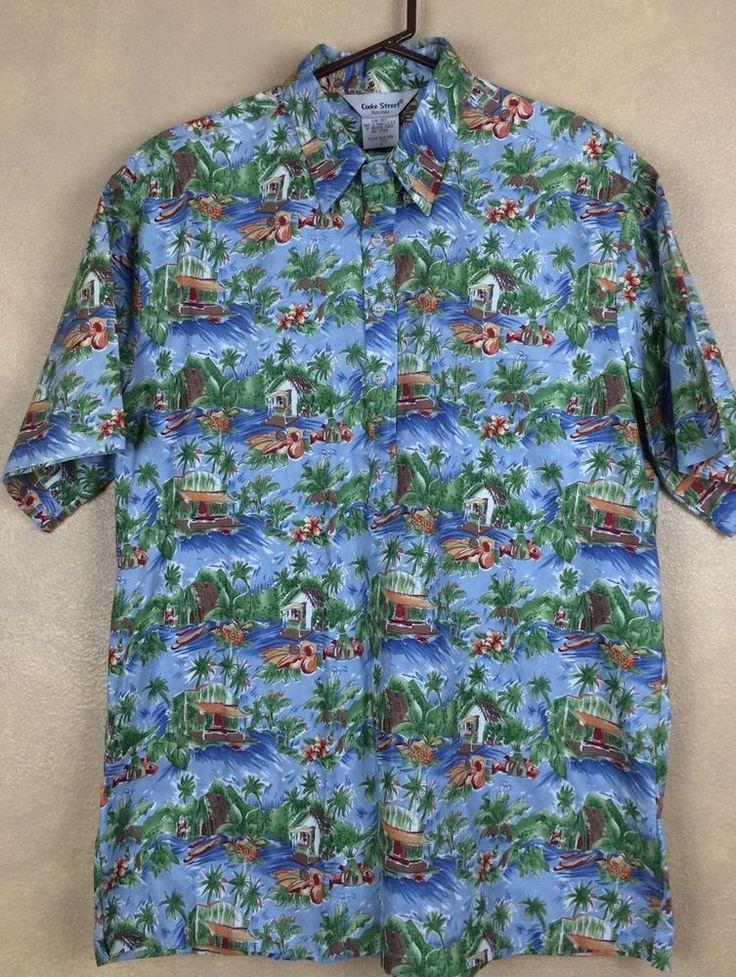 Cooke Street Hawiian Shirt Fruit Stand Pullover 4 Button Size L #CookeStreet #Hawaiian