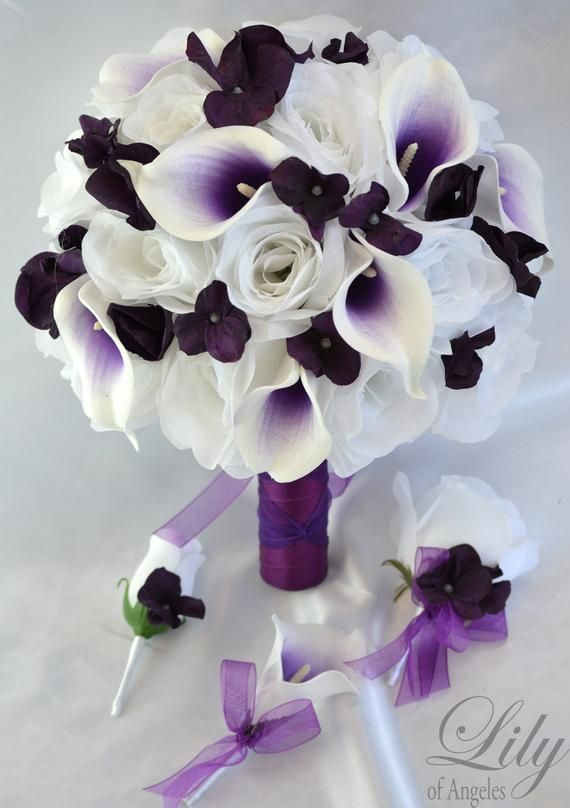 Two Dozen Real Touch Artificial Calla Lilies Royal Purple Wedding Bouquet Select Ribbon and Pin Colors