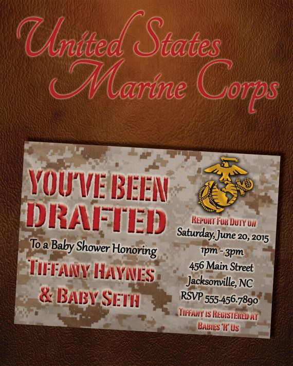 US Military Baby Shower Digital Invitation (Marines) by six8twelvedesigns