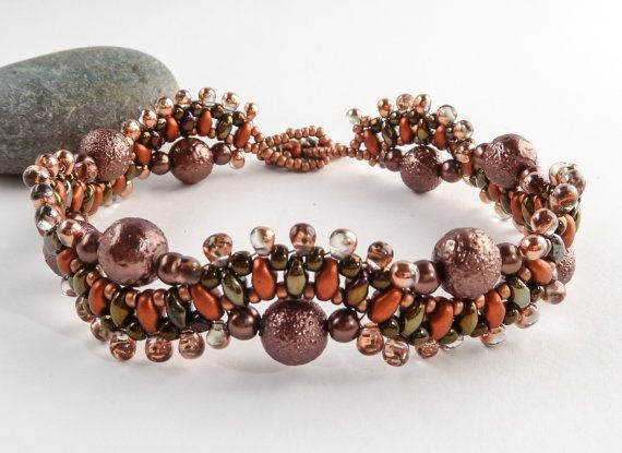Copper & Bronze Bead Bracelet  Wave Bracelet by BeauBellaJewellery