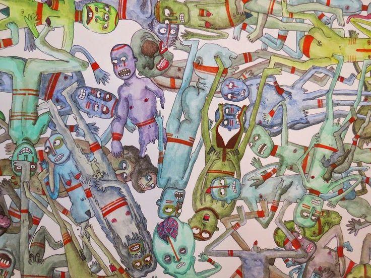 """""""Freaks"""" Illustrazione di Sabina Meschisi. Acquerelli su cartoncino bianco cm 50x70.  Watercolors on paper cm 50x70"""