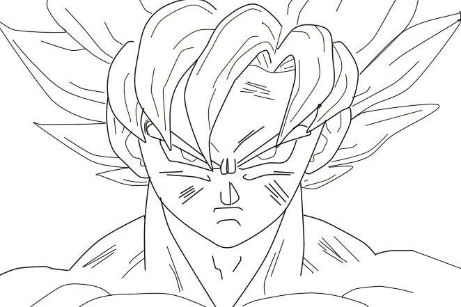 Goku Not Colored Goku Ssj No Color By Mateomesa On Deviantart Dragon Ball Art Goku Cartoon Coloring Pages