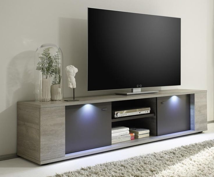 Alberta Modern Large Tv Cabinet In Grey Oak Grey Finish