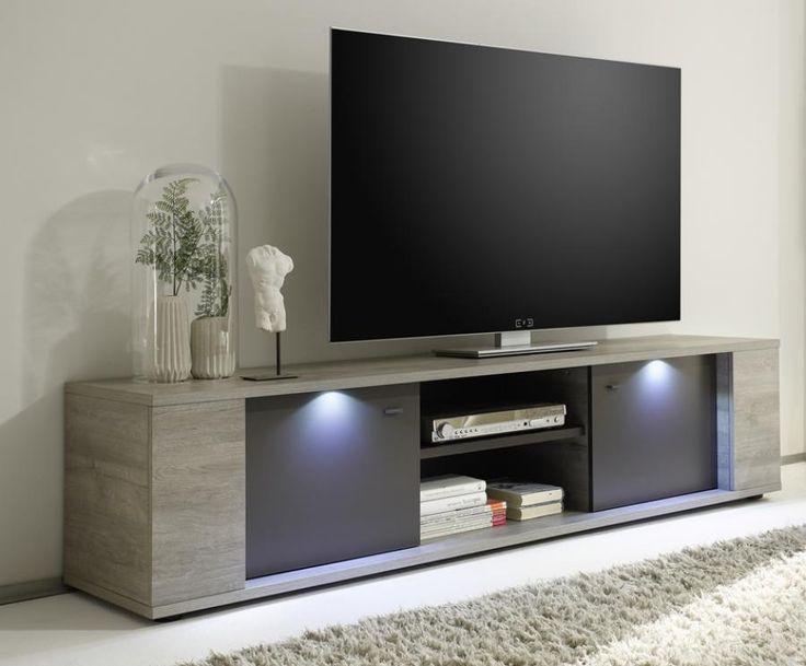 Alberta, Modern Large TV Cabinet in Grey Oak /Grey Finish ...