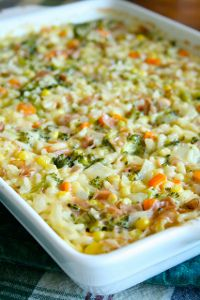 For those nights where you have absolutely no idea what to do for dinner, try this Kitchen Sink Rice Bake recipe. This rice bake includes a colorful array of healthy vegetables that you most likely already have in your refrigerator or freezer. Tender ham adds a bit of savory flavor while the cheese makes everything wonderfully gooey. This is one casserole recipe that you will definitely want to serve warm.