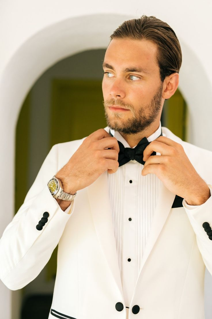 Groom, Handsome, Stylish, Tux, Bow Tie, Black And White, Preparations, In Love, Watch, Santorini Weddings