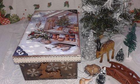erdei állatok - karácsonyi nosztalgia doboz, Dekoráció, Otthon, lakberendezés, Karácsonyi, adventi apróságok, Karácsonyi dekoráció, Decoupage, szalvétatechnika, Festett tárgyak, Meska