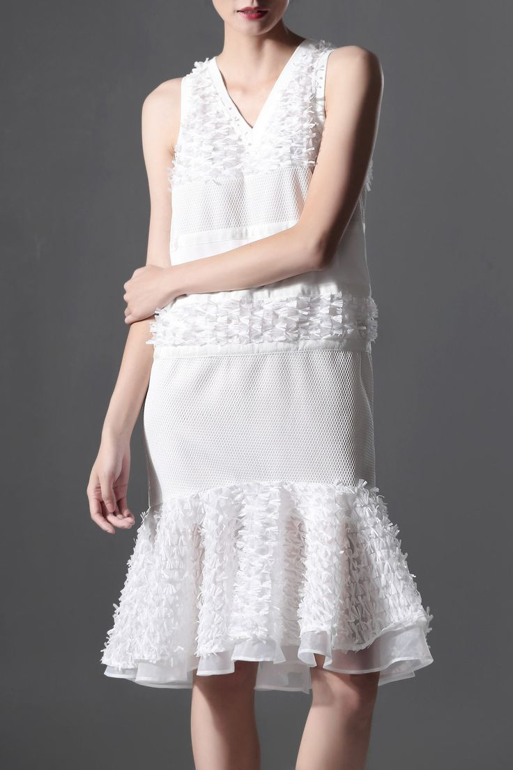 AZURE SHEN White Gazue Spliced Mermaid Dress