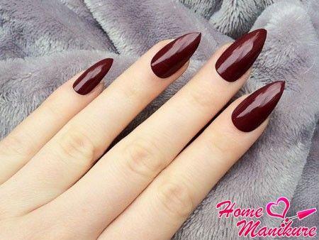 Бордовые нарощенные ногти фото