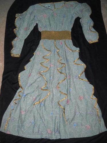 Jeanne Marc Long Flowing Dress Green Gold Fancy 10 Free Shipping Mint   eBay